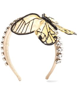 Crystal-embellished Butterfly Satin Headband