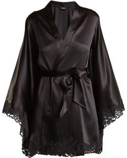Azalea Lace-trimmed Stretch-silk Kimono