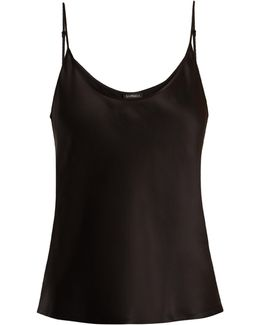Scoop-neck Silk-satin Cami Top