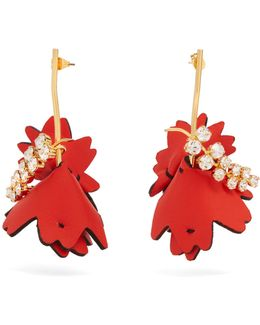 Leather Flower And Crystal-embellished Earrings