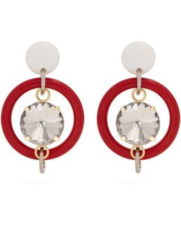 Crystal-embellished Hoop Drop Earrings
