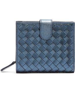 Intrecciato Foldover Leather Wallet