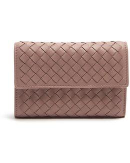 Tri-fold Intrecciato Leather Wallet
