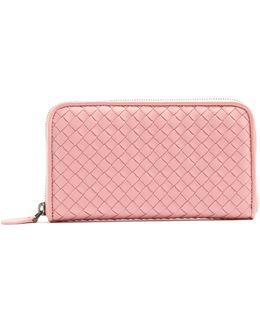 Intrecciato Zip-around Leather Wallet