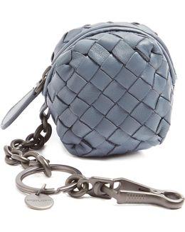 Intrecciato Leather Purse Key Ring