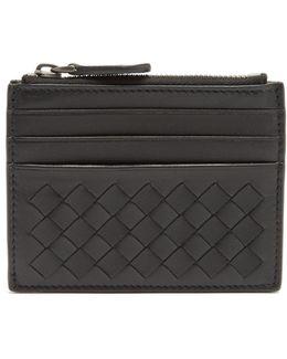 Intrecciato Leather Zip-top Cardholder