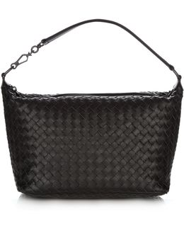 Intrecciato-woven Leather Shoulder Bag