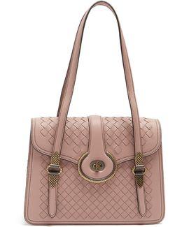 Mazzaluna Intrecciato Leather Shoulder Bag