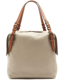 Contrast-handle Leather Tote