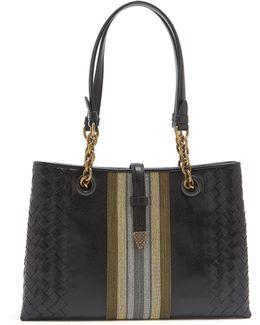 Chain-embellished Leather Shoulder Bag