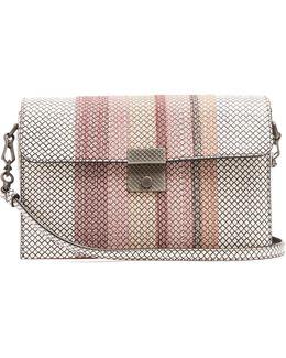 Embroidered Snakeskin Shoulder Bag