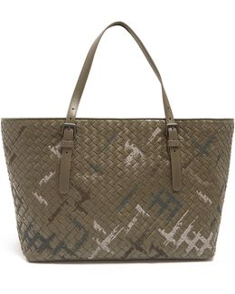 Graffiato-embroidered Intrecciato Leather Tote