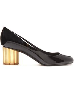 Lucca Flower-heel Patent-leather Pumps