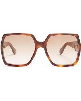 Oversized Rectangle-frame Acetate Sunglasses