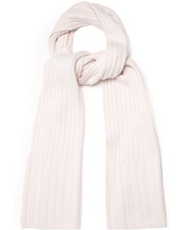 Ribbed-knit Cashmere Scarf
