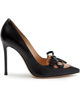 Corset Lace-up Point-toe Leather Pumps