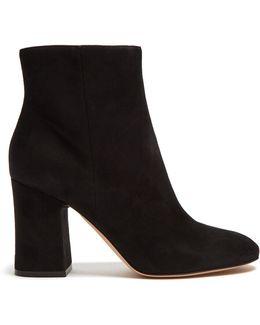 Block-heel Suede Ankle Boots