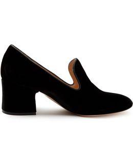 Satin-piped Velvet Block-heel Loafers