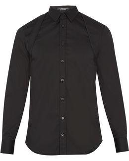 Quilted-harness Cotton-blend Poplin Shirt
