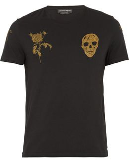Skull And Rose-print Cotton-jersey T-shirt