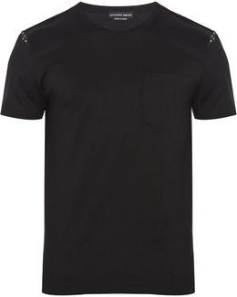 Skull-print Insert Cotton T-shirt