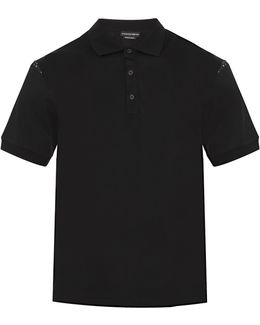 Skull-print Insert Cotton Polo Shirt