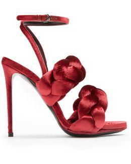 Plaited Velvet Sandals