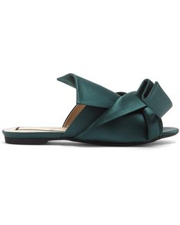 Bow-front Satin Slides