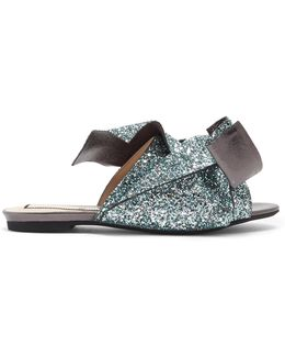 Bow-front Glittered-leather Slides