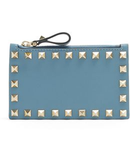 Rockstud Leather Cardholder