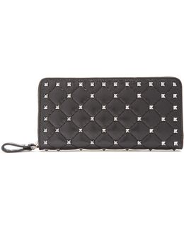 Rockstud Spike Quilted-leather Continental Wallet