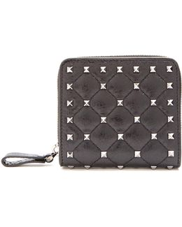 Rockstud Spike Quilted-leather Wallet