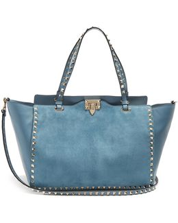Rockstud Suede And Leather Tote