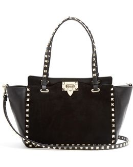 Rockstud Small Leather And Suede Tote