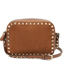 Rockstud Camera Leather And Suede Cross-body Bag