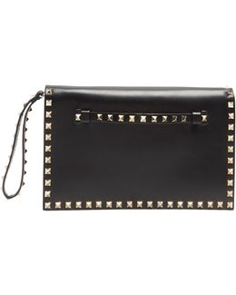 Rockstud Leather Foldover Clutch
