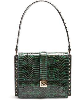 Rockstud-embellished Snakeskin Bag