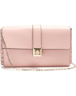 Rockstud-embellished Small Leather Clutch