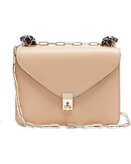 Panther-embellished Small Leather Shoulder Bag