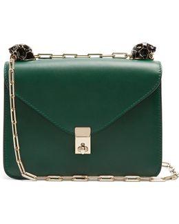 Panther-embellished Small Leather Shoulder Bag