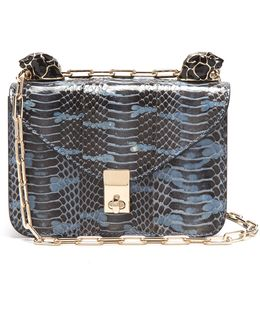 Panther-embellished Mini Snakeskin Shoulder Bag