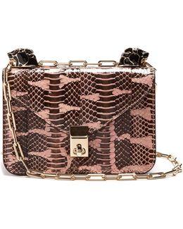 Panther-embellished Mini Snakeskin Shoulder Bag