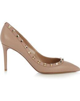 Rockstud Point-toe Grained-leather Pumps