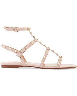Rockstud Leather Flat Sandals