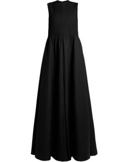 Pintuck-pleated Wool-blend Gown