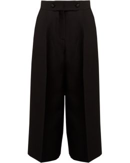 High-rise Wide-leg Wool And Silk-blend Culottes