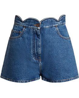 Scallop-edged Denim Shorts