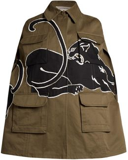 Panther-embroidered Cape