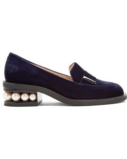 Casati Pearl-heeled Velvet Loafers