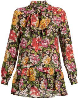 Frida Floral-print Tie-neck Silk Blouse